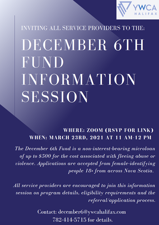 YWCA December 6th Fund information session poster